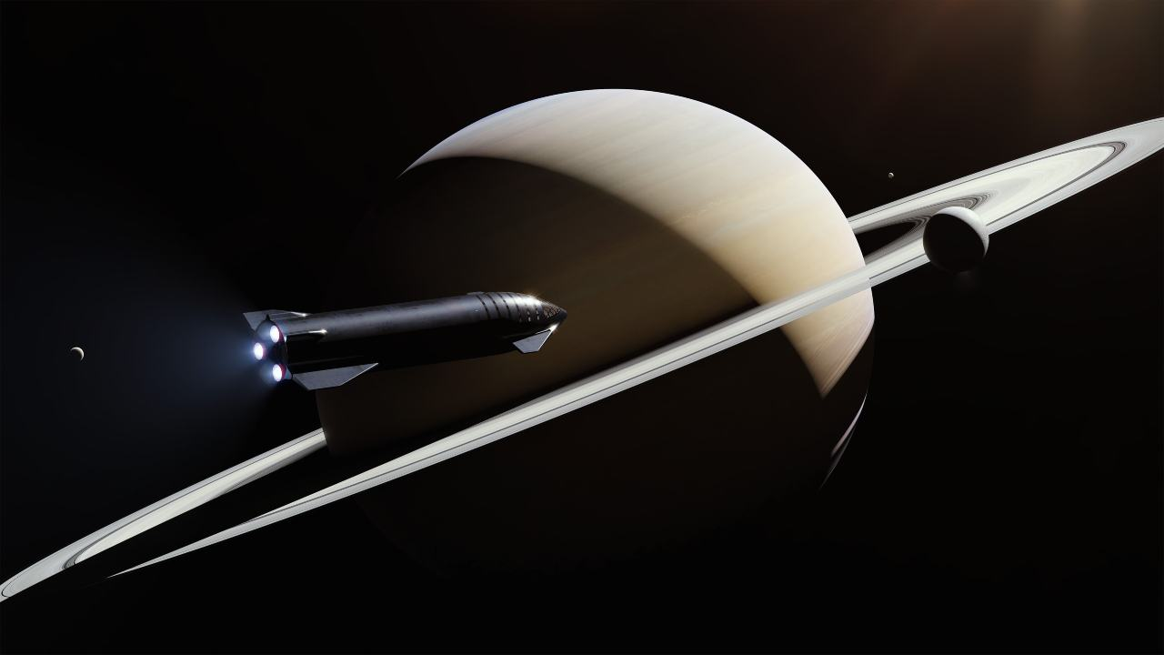 An illustration of Starship in space.