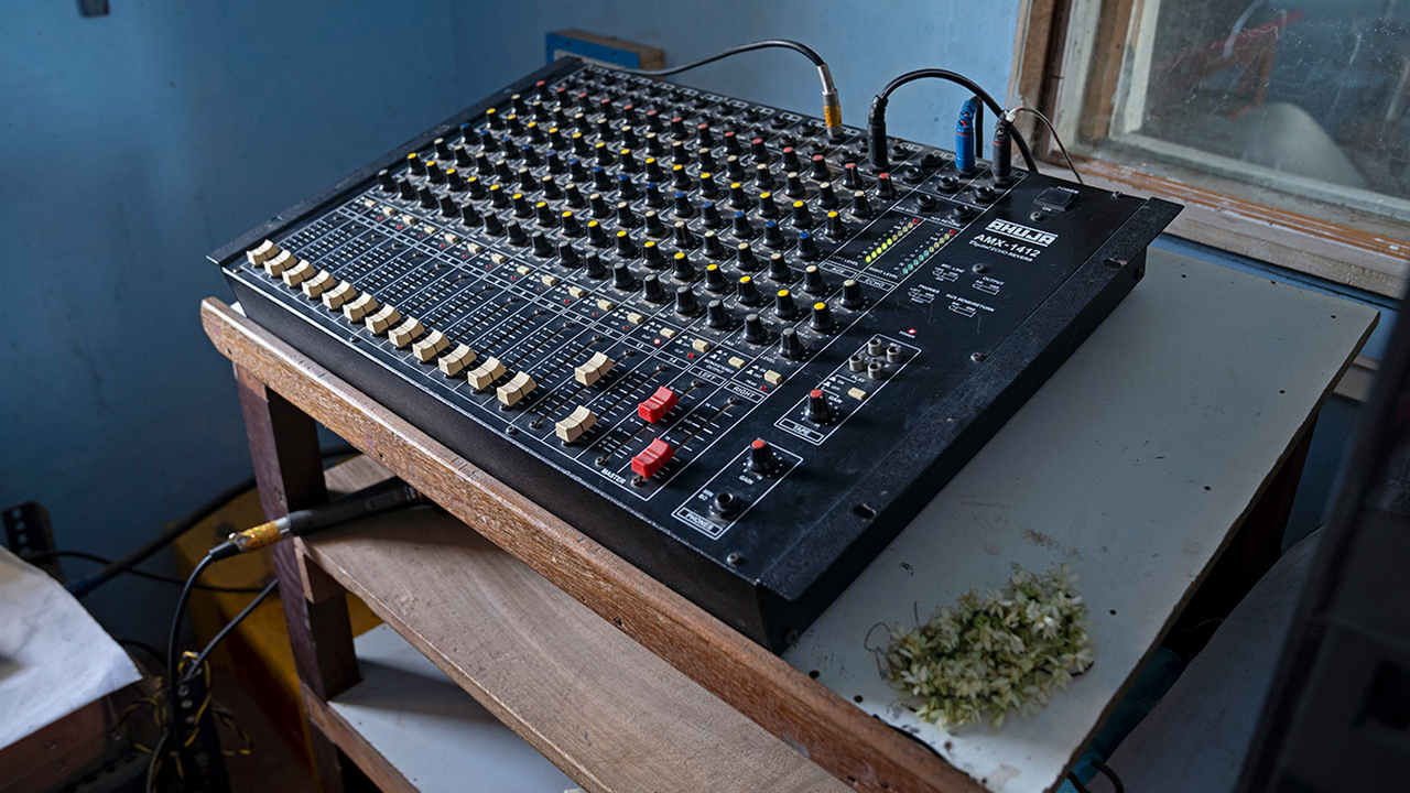 An audio mixer at the community radio station. image credit: Kartik Chandramouli/Mongabay.