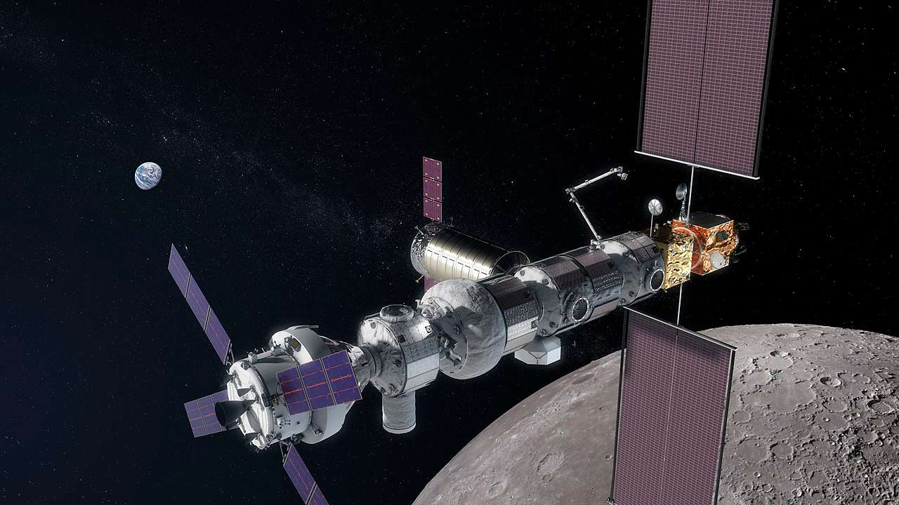 Artist illustration of the Lunar gateway, a mini space station, orbiting in space. Image credit: NASA