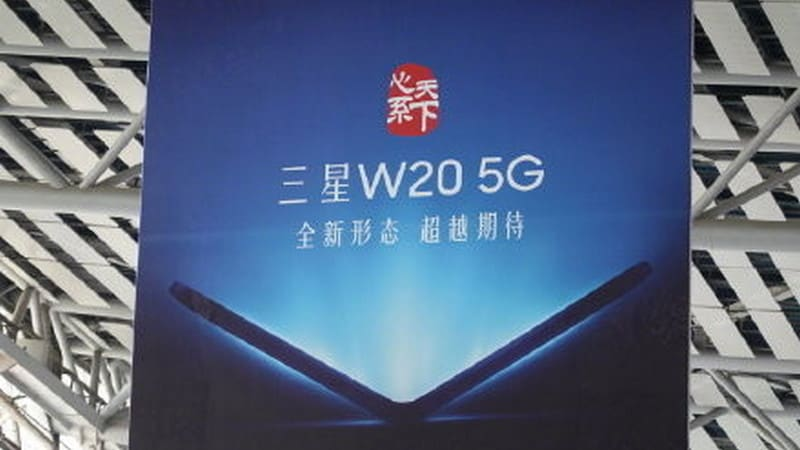 Samsungs next possible foldable phone teased in a poster at an expo in China