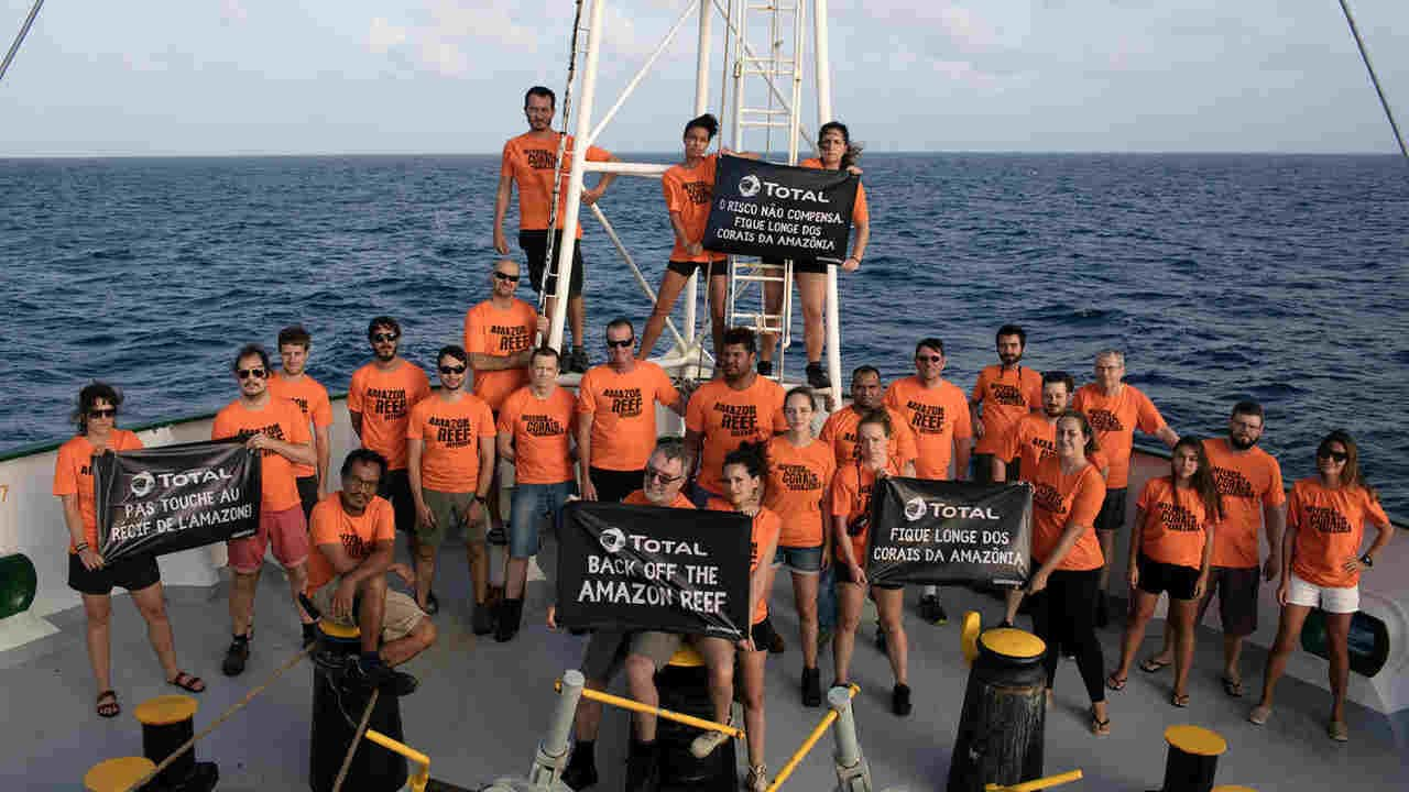 The ship spent 45 days in Brazil and this the crew that lived on it. image credit: Greenpeace