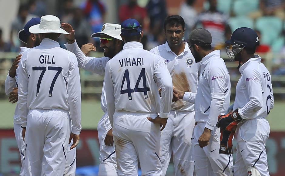 R Ashwin celebrates the dismissal of Faf du Plessis, who departed after scoring 55 runs. AP