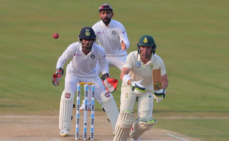 South Africa's Dean Elgar in action. The opening batsman is currently unbeaten along with Temba Bavuma at the other end, with the Proteas having scored 39-3 so far. They still trail India by 463 runs. AP