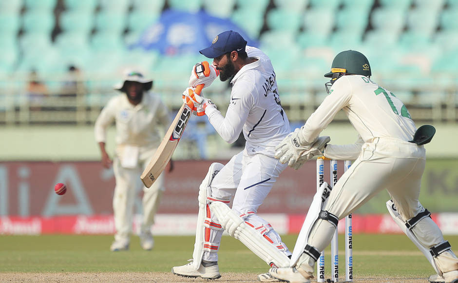 Ravindra Jadeja played a 45-ball knock of 30 runs as India declared their first innings at 502-7. AP