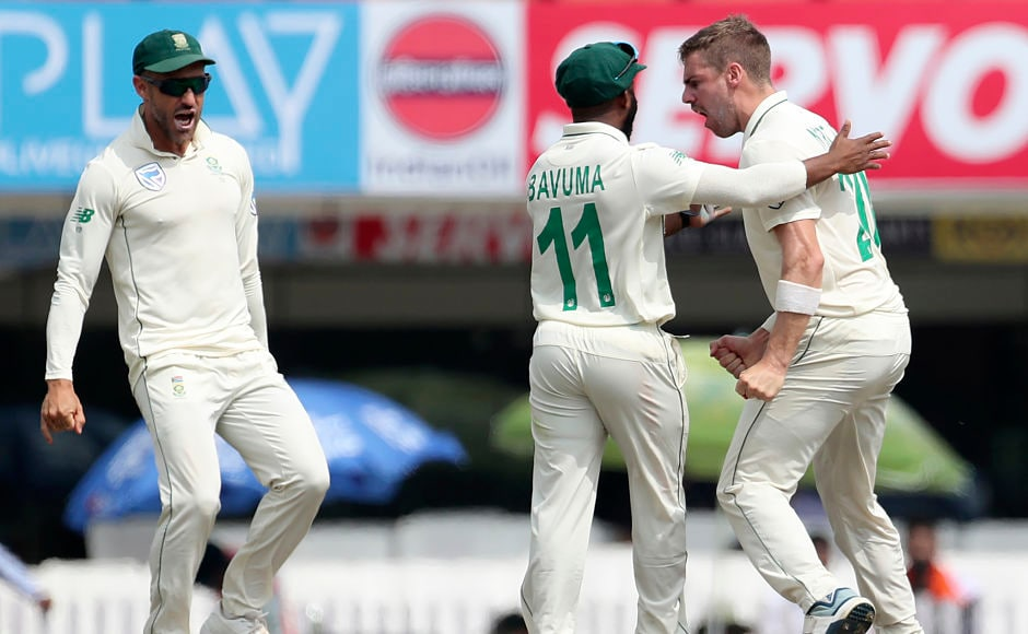 Anrich Nortje (extreme right) celebrated passionately as he picked his maiden Test wicket. The big reason for this animated celebration was the fact that he had removed Virat Kohli. AP