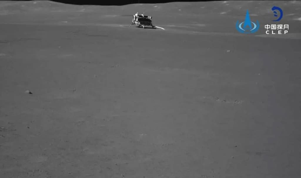 The Chang e 4 lander several feet away as seen by the rover, shared on 9 July. Image: CNES
