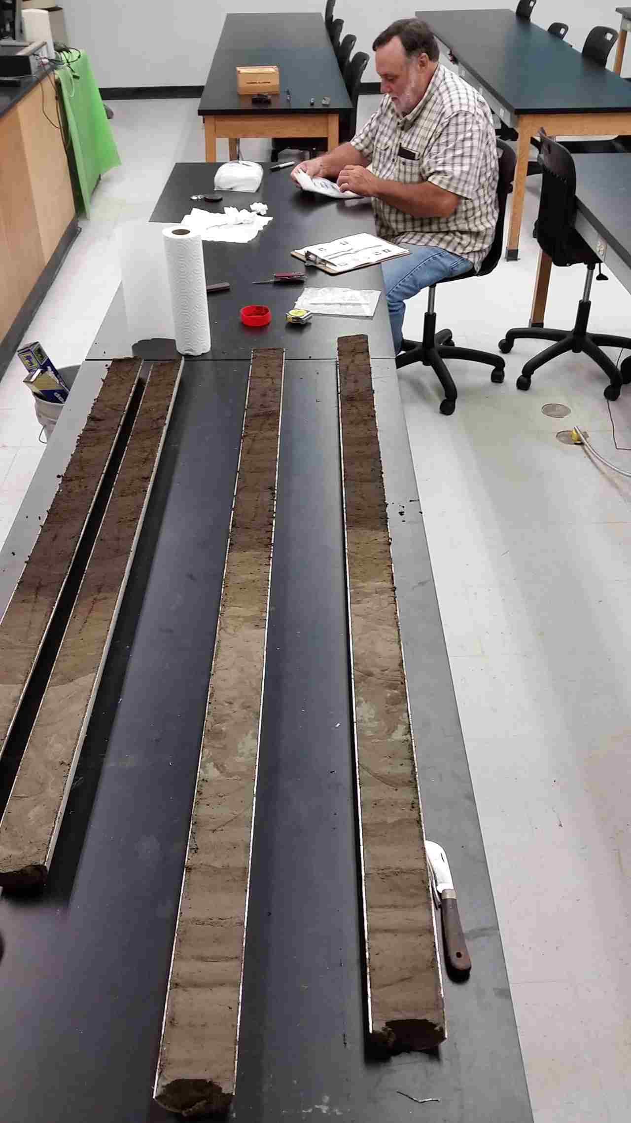 The long sediment cores are cut in half in order to extract samples for analysis. Image credit: Christopher R Moore