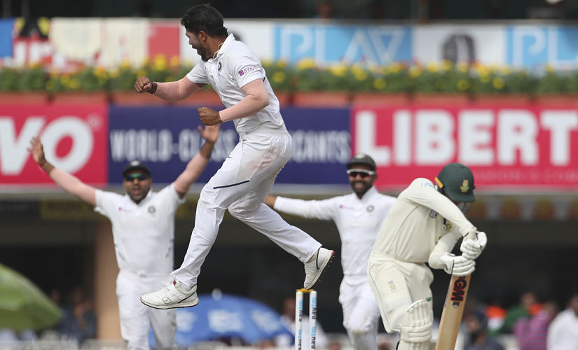 Umesh Yadav celebrates after taking the wicket of Quinton de Kock in the second innings of Ranchi Test. AP