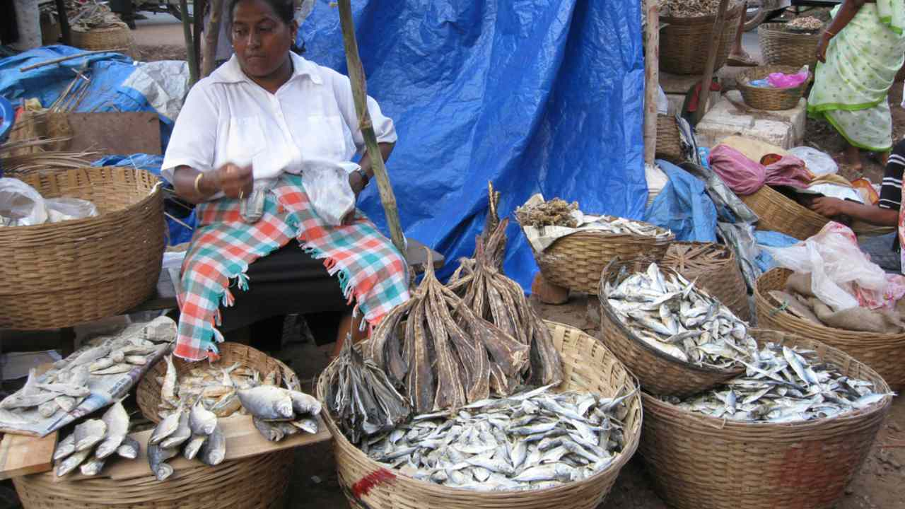 Vendor at Margao Fish Market. image credit: Aaron C, Wikimedia Commons