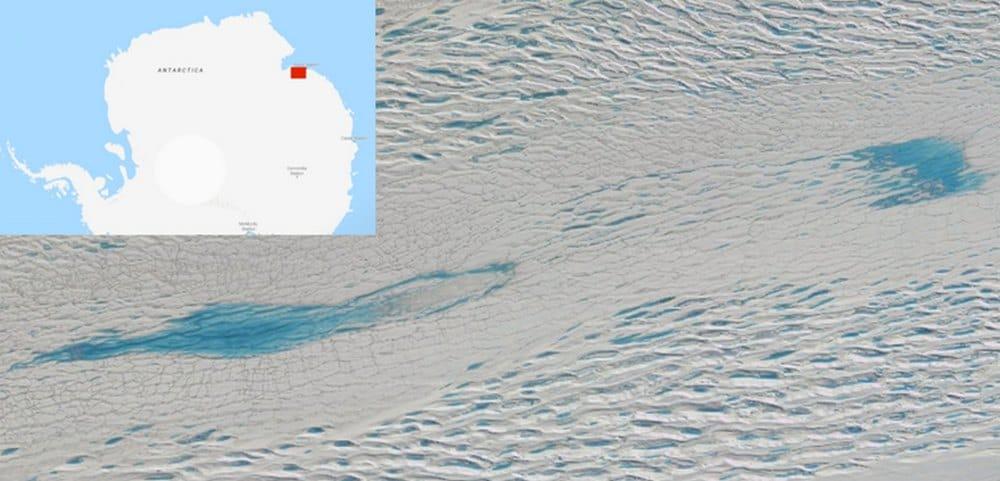 Meltwater lakes on Sørsdal Glacier, Antarctica (red dot on larger map). image credit: Google Maps