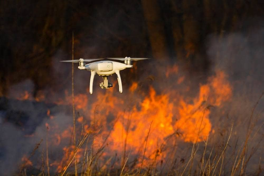 Drones can help map forest fires by surveying areas that are too difficult or dangerous to access. Image credit: Shutterstock