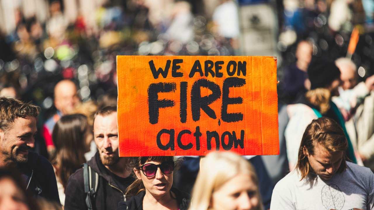 climate change activist protesting.