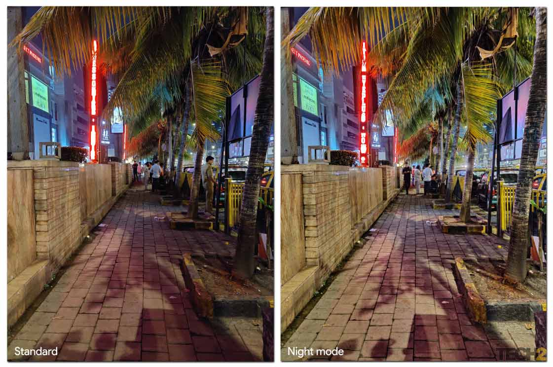 Nightscape mode shot on a footpath. Image: tech2/Abhijit Dey.