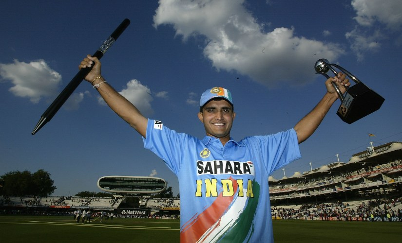 Sourav Ganguly celebrates with the Natwest 2002 ODI trophy. Gettyimages