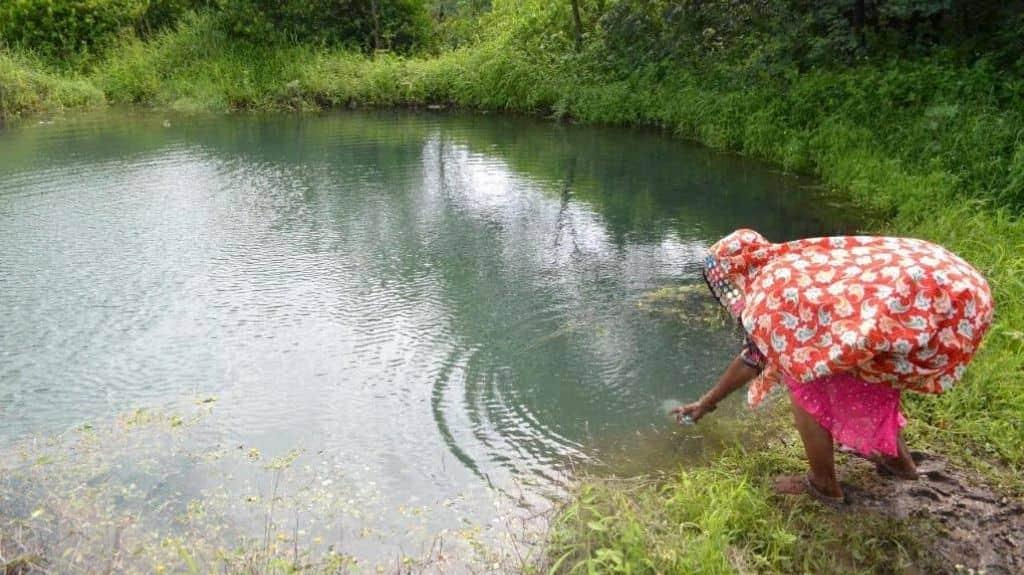 Rainwater harvesting and farm ponds play a big role in climate-smart farming. Photo cerdit: Swayam Shikshan Prayog/The Third Pole.