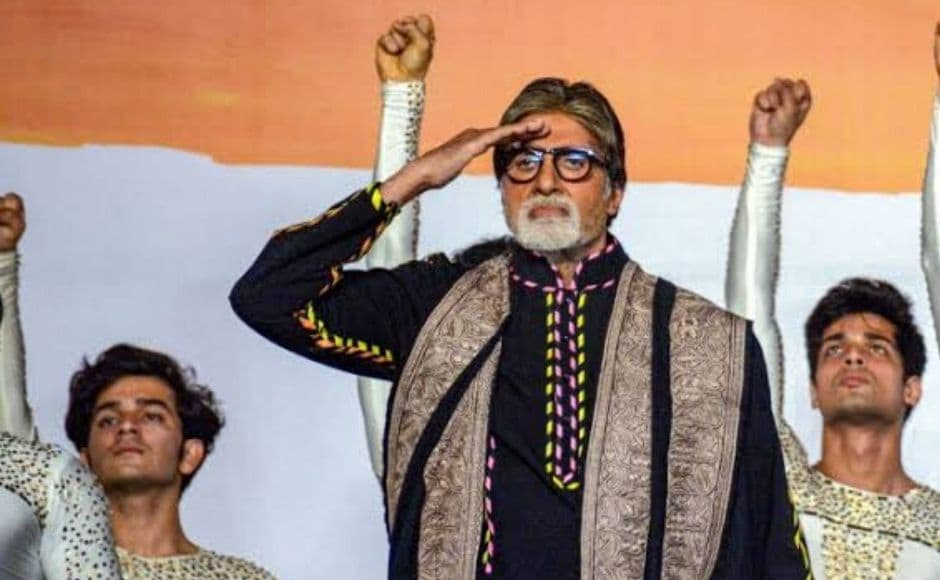 Amitabh Bachchan also took to the stage during the event to pay homage to the victims. Image courtesy Press Trust of India