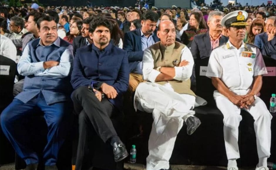 Along with Gadkari and Singh, also present at the event were Vice Admiral Ajit Kumar and Executive Director of Indian Express Group, Anant Goenka. Image courtesy Press Trust of India