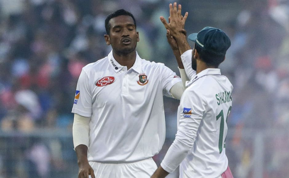 Bangladeshi bowlers had a tough day at work. Al-Amin Hossain and Ebadot Hossain picked up three scalps each as India declared on 347/9. AP