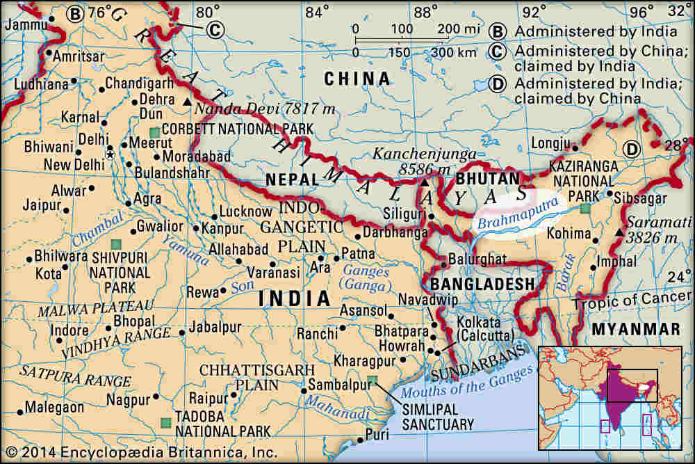 A map that shows the flow of the Brahmaputra river. Image credit: Britannica