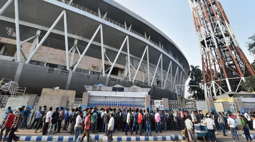 Fans queue up at Eden Gardens for tickets for the day-night Test. PTI