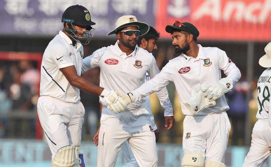 Agarwal and Ravindra Jadeja added 123 runs for the fifth wicket, after which Bangladesh finally got rid of the double-centurion, caught off Mehidy Hasan on 243. India also lost Wriddhiman Saha (12) shortly after. AP
