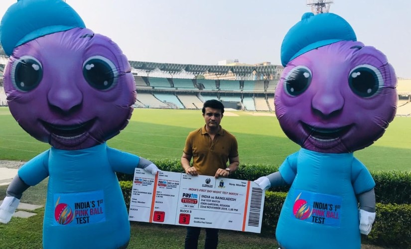 Sourav Ganguly with pink ball Test mascots. @CABCricket