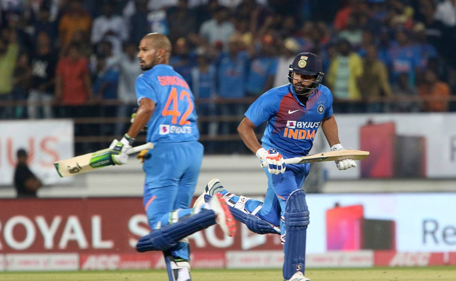 India openers Rohit Sharma and Shikhar Dhawan built a 118-run stand for the first wicket as the visiting bowlers were completely outplayed in the run-chase. AP