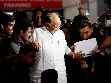 NCP Chief Sharad Pawar after a meeting with party MLAs in Mumbai. PTI