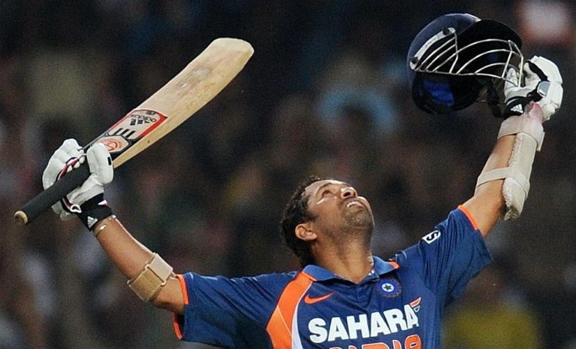 Giant leap for mankind: Sachin Tendulkar's second wind saw him become the first man to score 200 runs in an ODI innings. File/AFP