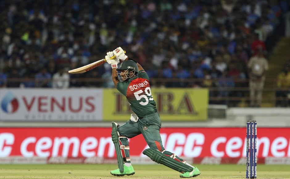 Bangladesh's Soumya Sarkar played a cameo innings of 30 runs off 20 balls following Naim's dismissal. AP