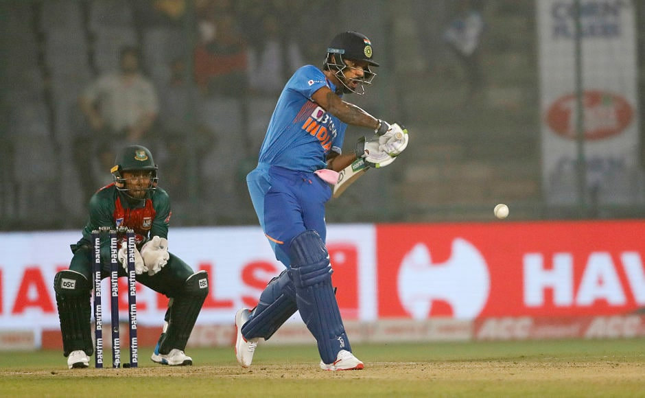 India's Shikhar Dhawan looked rusty in the first T20I and struggled to get going, failing to connect and play the big shots. Yet his 41-run knock was important to take India to 148 for 6. AP
