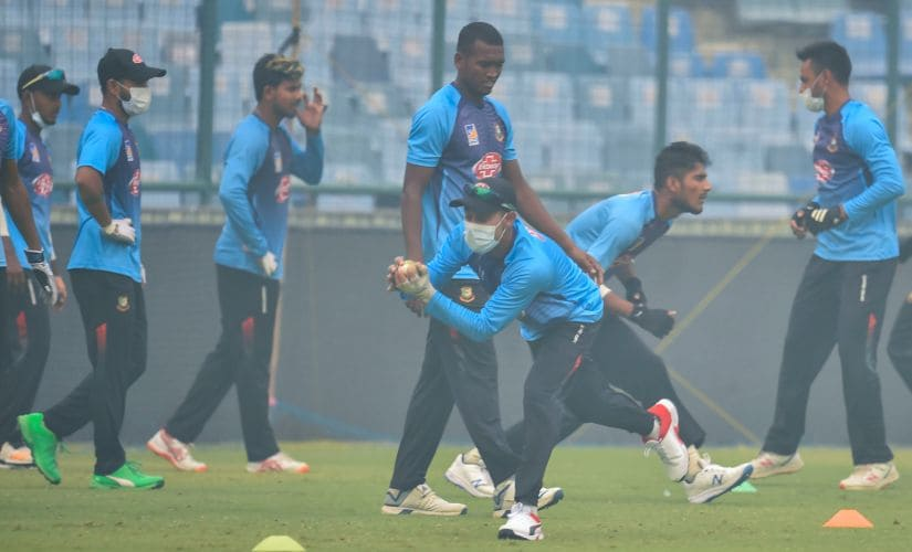 New Delhi: Bangladesh cricket players during a practice session at Arun Jaitley Stadium, a day before their T20 match against India, in New Delhi, Saturday, Nov. 2, 2019. (PTI Photo/Ravi Choudhary)(PTI11_2_2019_000027B)