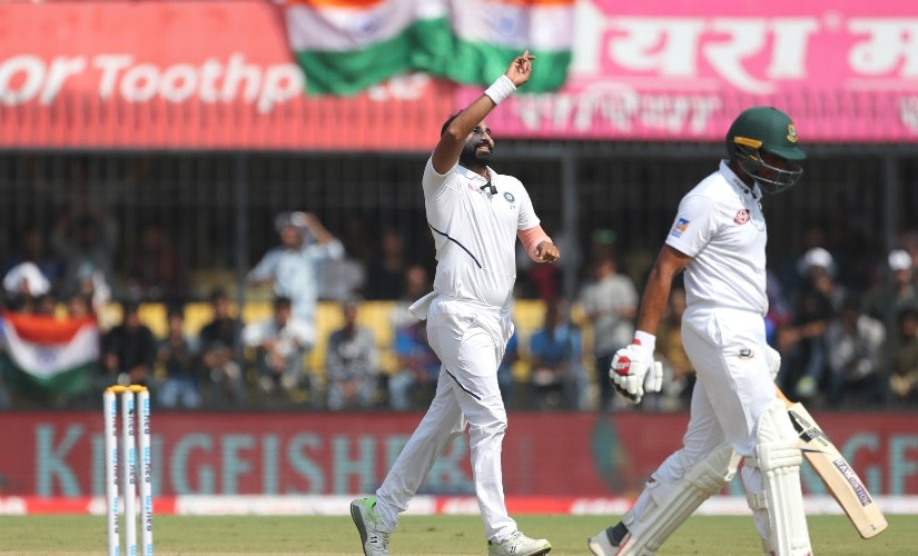 Mohammed Shami again starred with the ball for India, taking 4 wickets for 31 runs. Here he celebrates the dismissal of Mahmudullah on Day 3 of the first Test. AP