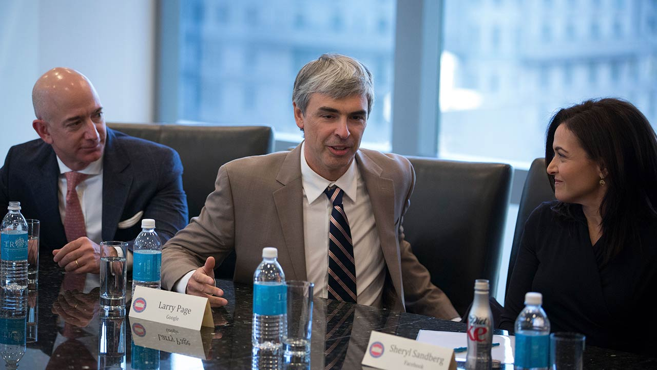 Former Alphabet CEO Larry Page speaks during a meeting of tech industry heads at President-elect Donald Trump's offices at Trump Tower in Manhattan, Dec. 14, 2016. (By Kevin Hagen © 2019 The New York Times)