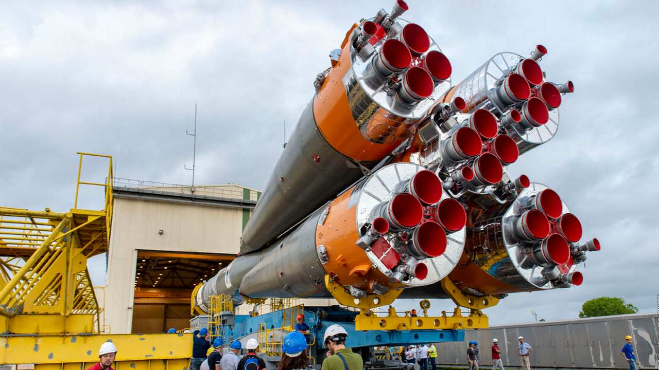 The Cheops will be launched on the Soyuz-Fregat rocket, the third stage is visible here. Image credit: Twitter