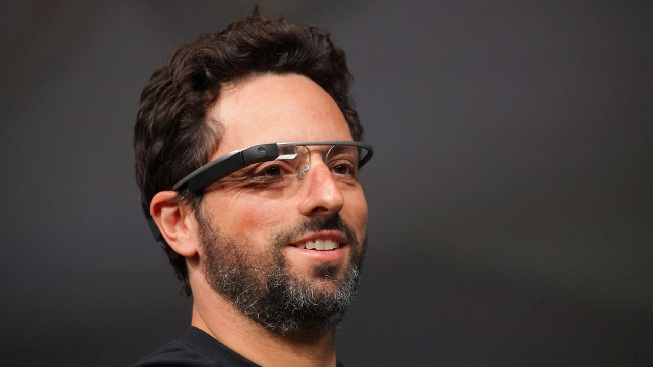 Sergey Brin wearing Google Glass during the company's conference in San Francisco, June 27, 2012. (By Kevin Hagen © 2019 The New York Times)