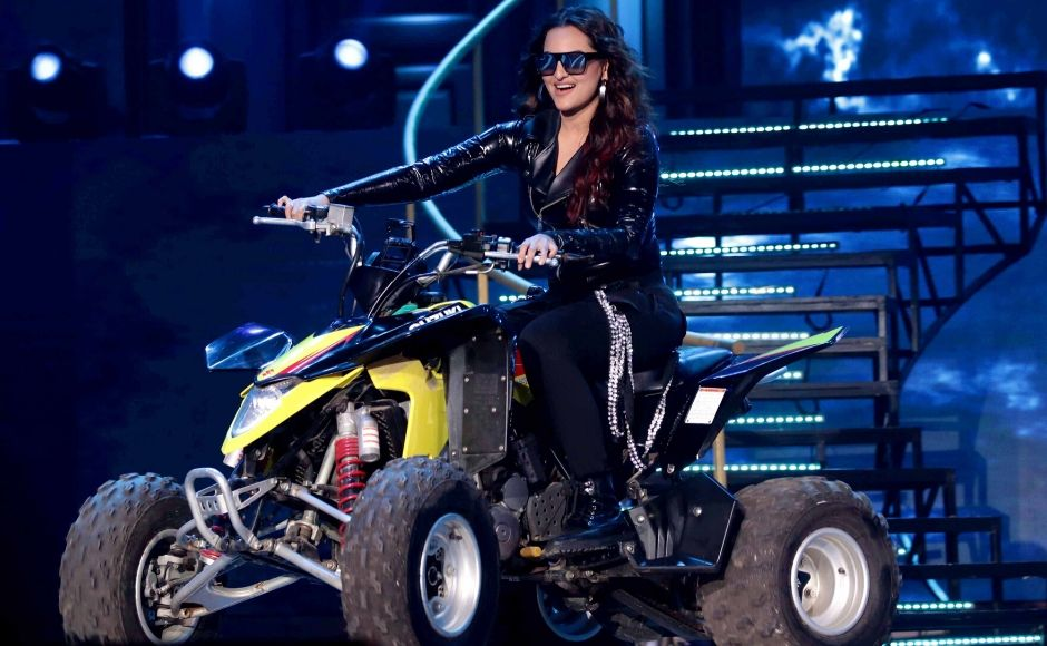 Sonakshi Sinha rode onto the stagefor a performance at the event. Photo: Sachin Gokhale/ Firstpost