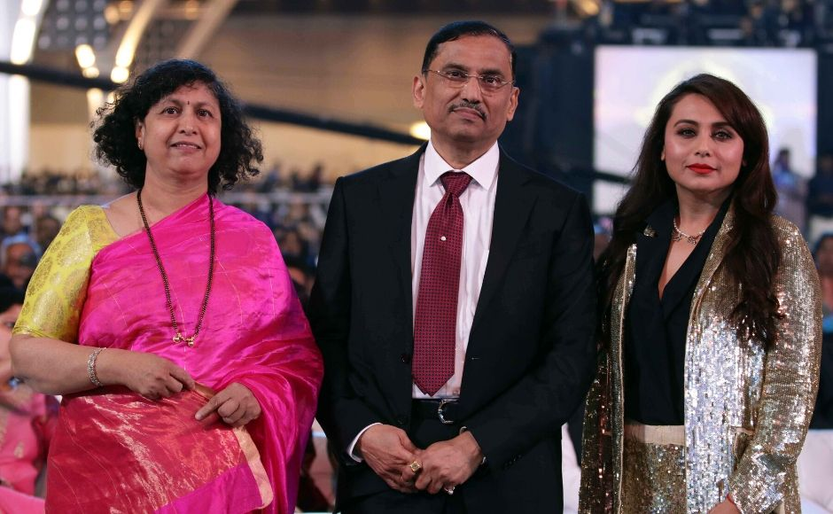 Bollywood actor Rani Mukherjee (right) with the Mumbai Police Commissioner, Sanjay Barve, and his wife who were also in attendance at the event. Photo: Sachin Gokhale/ Firstpost