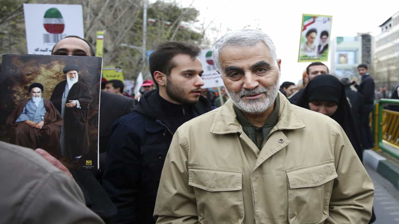 Thousands gather in Baghdad for Iranian general Qassem Soleimani's funeral; Quds force chief was architect in war against IS