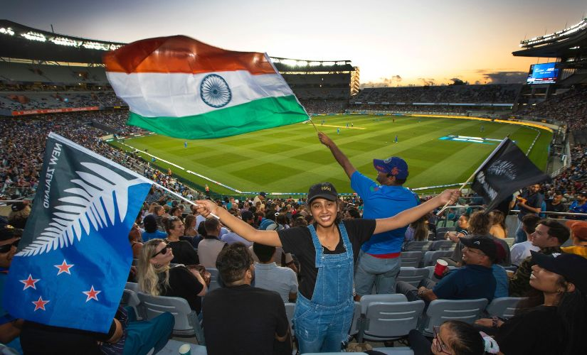 Fans watch the India vs New Zealand first T20I at Eden Park, Auckland, New Zealand. Image credits @BLACKCAPS