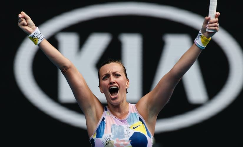 Petra Kvitova of the Czech Republic celebrates after defeating Greece's Maria Sakkari in their fourth round singles match at the Australian Open tennis championship in Melbourne Australia Sunday Jan. 26 2020
