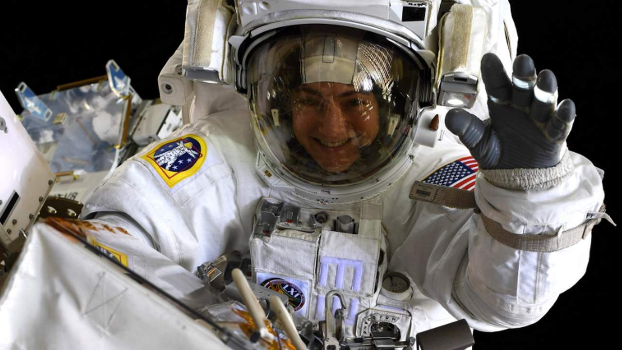Second all-women spacewalk change batteries, on the ISS, in seven and a half hours