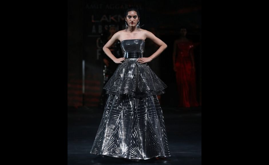 Closing the fashion week on 16 February was Amit Aggarwal's finale collection, AXIL, which showcased his vision of the future that featured intricate patterns fused with polymers woven into fabric to create a 3D effect.