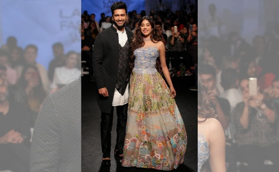 Bollywood actors Vicky Kaushal and Janhvi Kapoor also took to the ramp on opening day. While Kaushal sported a Kunal Rawal creation, Kapoor wore a a fully embroidered tulle gown by Rahul Mishra.
