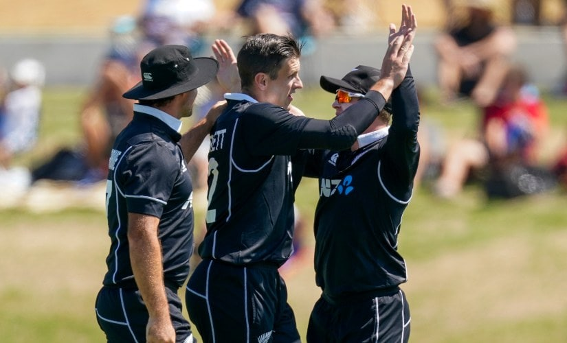 New Zealand's Hamish Bennet celebrates the wicket of India's Virat Kholi during the third ODI between India and New Zealand. AP