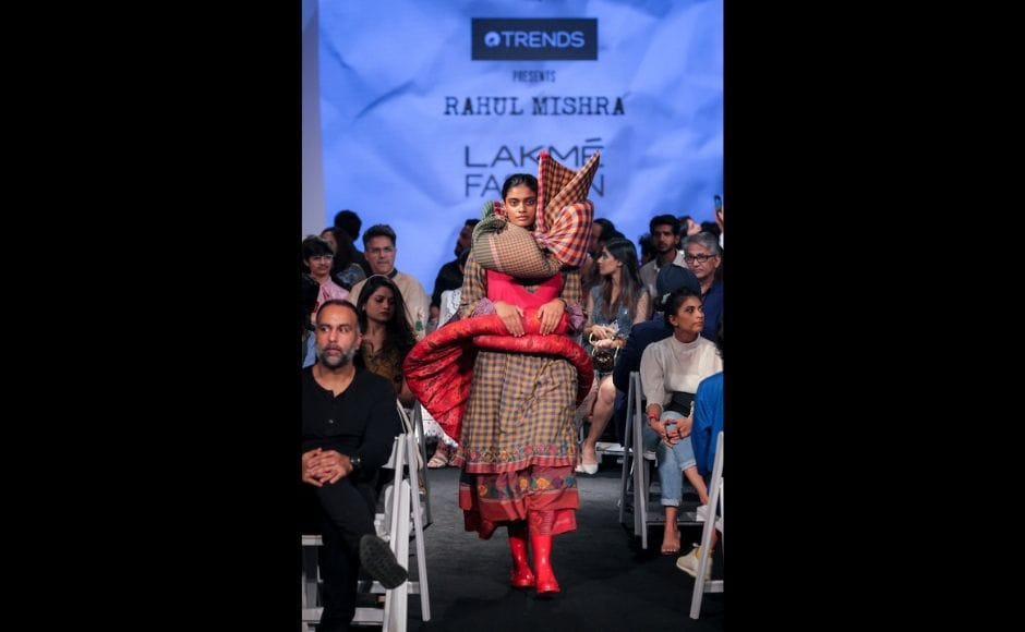 A model walking the ramp at the Gen Next Alumni show on opening day of the Lakme Fashion Week.