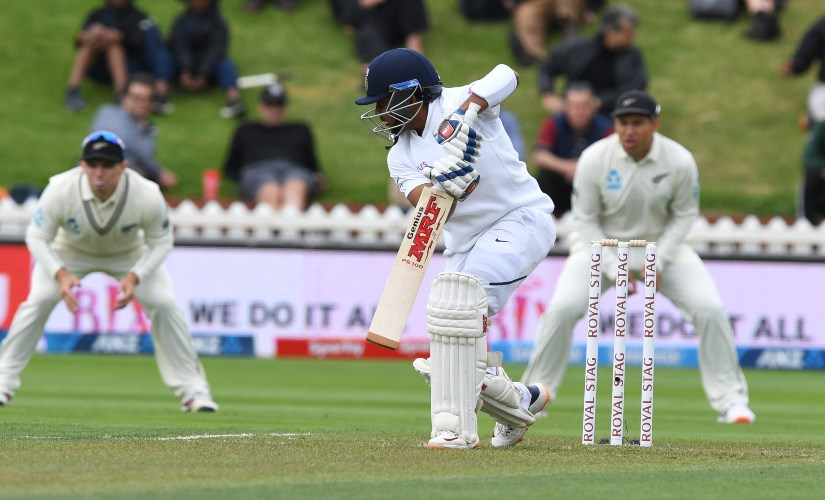 Prithvi Shaw opened the batting for India and scored 16 runs from 18 balls, before being bowled by Tim Southee, during the first India vs New Zealand Test.