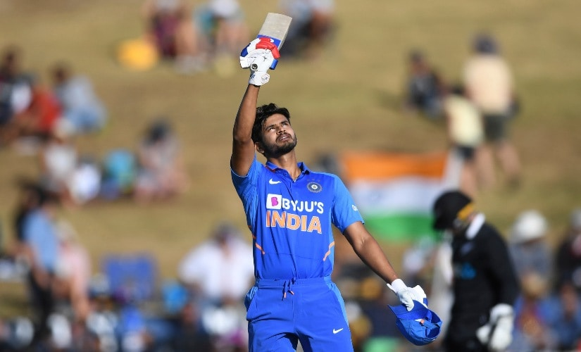 Shreyas Iyer celebrates after scoring a century in the first ODI between India and New Zealand at Seddon Oval in Hamilton, New Zealand. AP