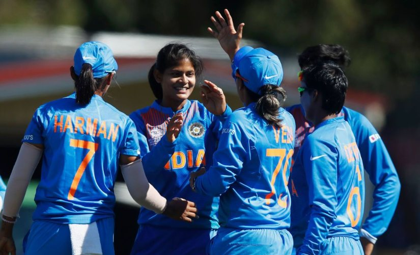 Radha Yadav of India (2L) celebrates with Veda Krishnamurthy of India (C) after combining for the wicket of Hansima Karunarathna of Sri Lanka during the ICC Women's T20 Cricket World Cup match between India and Sri Lanka on February 29 2020. Image credits @T20WorldCup