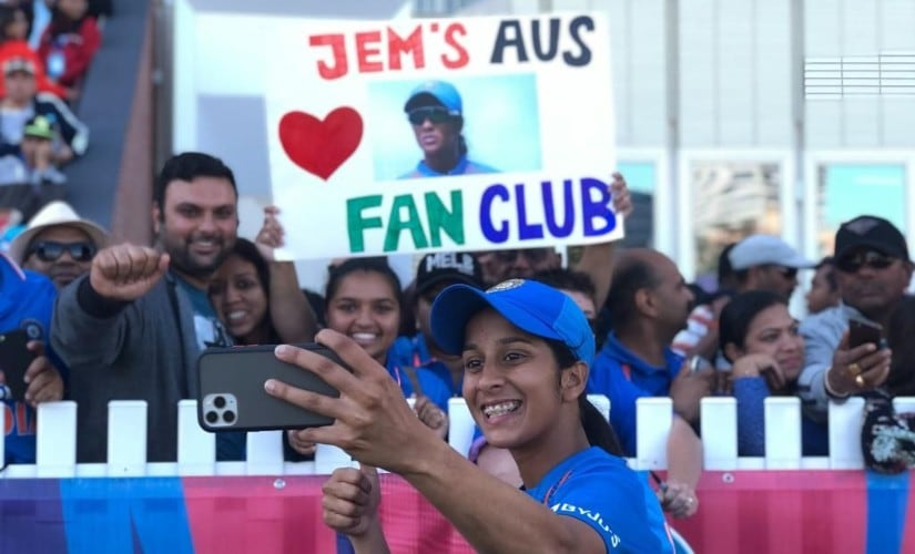 India's Jemimah Rodrigues clicks a selfie with fans after India beat Sri Lanka by seven wickets in their Group A fixture. Image credits @T20WorldCup